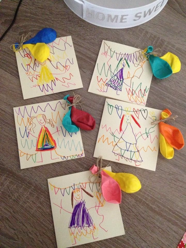 This is cute to! Have Ella & Ada scribble on some paper and attach the balloons with party info.