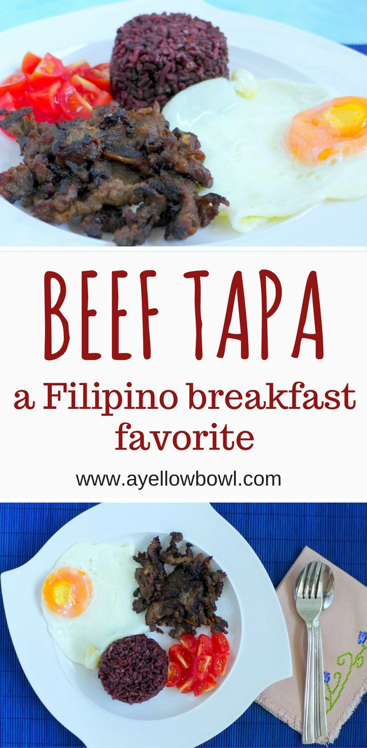 This beef tapa recipe is a favorite for breakfast of many Filipino families. Marinated beef strips are fried and is best served with fried rice, fried egg, some tomatoes and a dipping sauce of vinegar on the side.