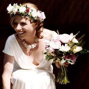 Floral crown and shabby chic posy