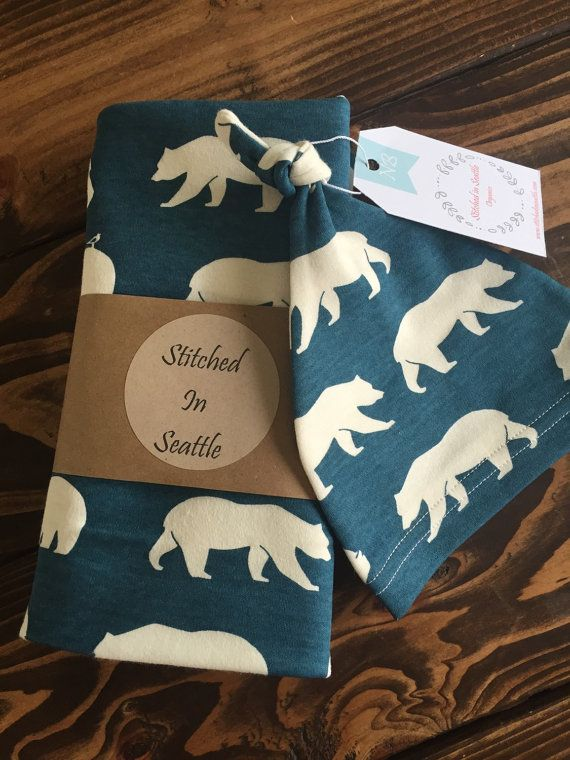 Sale -Organic Swaddle Blanket & Baby Knot Hat Set- Bear hike with birds Navy Cream- SHIPS SAME DAY