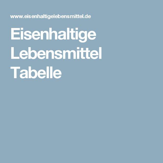 Eisenhaltige Lebensmittel Tabelle