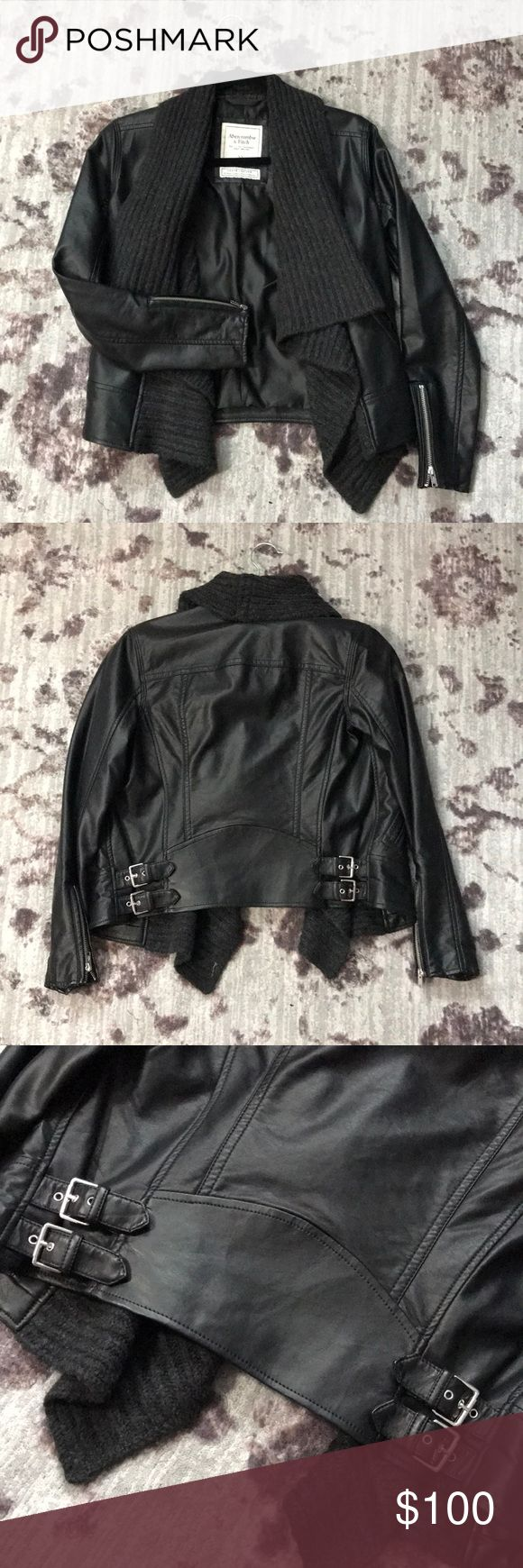 Abercrombie and Fitch leather jacket Abercrombie and Fitch leather jacket  •vegan leather  •only worn twice •like new  •black  •knit Abercrombie & Fitch Jackets & Coats