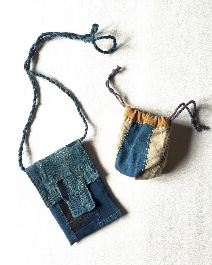 """""SASAKI-JIRUSHI"" Japanese boro patched small cases with Sashiko. Made by us Material:Japanese boro cotton Color:Faded indigo,dark indigo and more.…"""