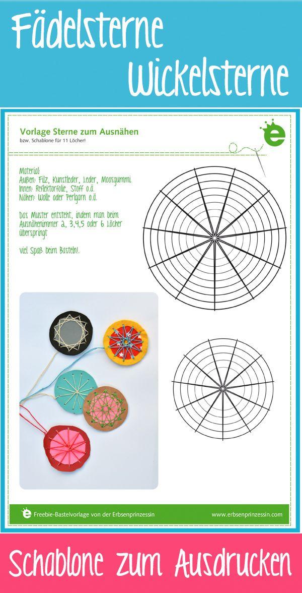 Fädelsterne-Wickelsterne Vorlage zum Ausdrucken für Sterne zum Ausnähen, Sticken. pdf-Schablone