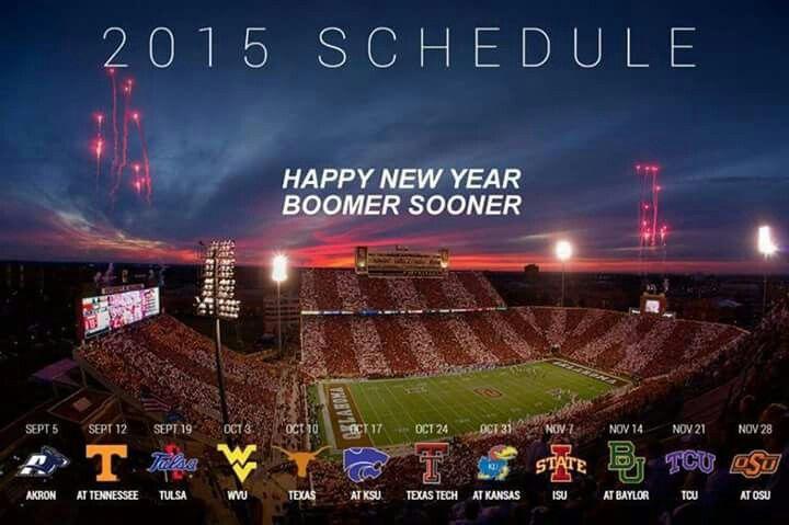 2015 OU SOONER FOOTBALL SCHEDULE. #BOOMER SOONER. via:  Oklahoma Football