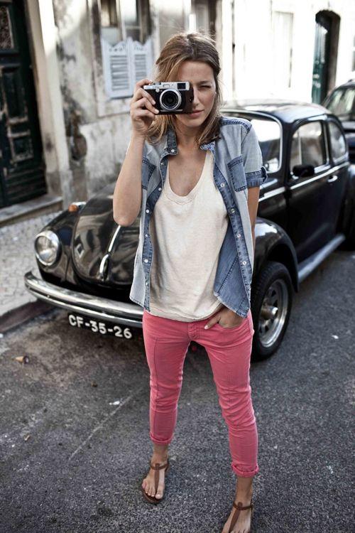 pink denim + white t-shirt + denim shirt