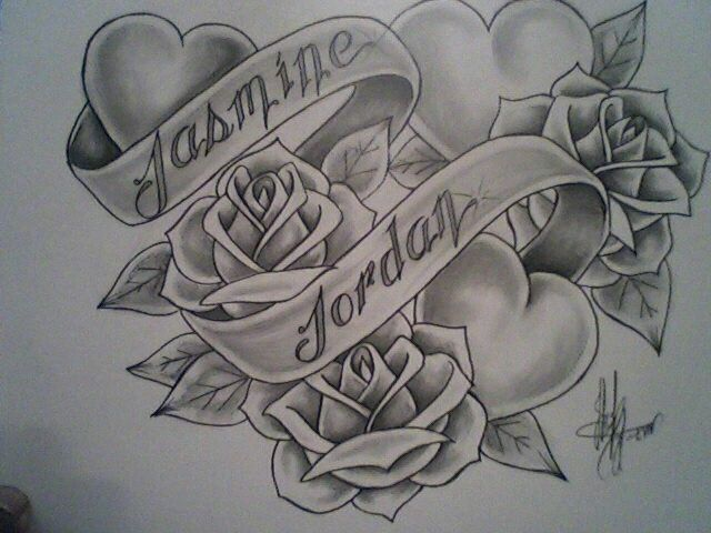 Love this rose heart and banner tattoo but needs to be Jessica and jordan
