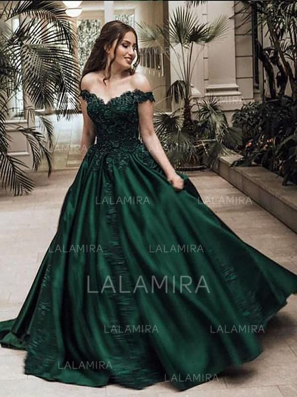 e8ad35861ad Ball-Gown Off-the-Shoulder Sweep Train Prom Dresses With Beading Appliques  Lace (018148444) - Prom Dresses  148444 - lalamira