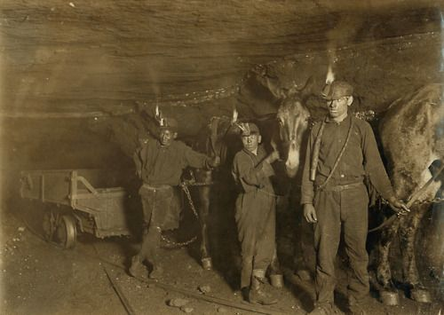 """Lewis Hine. """"Child coal miners - drivers and mules, West Virginia coal mine."""" 1908. Gary, WV, USA."""