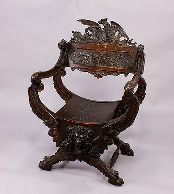 Antique Victorian Carved Wood Chair With Lion Eagle And Dragons Ca