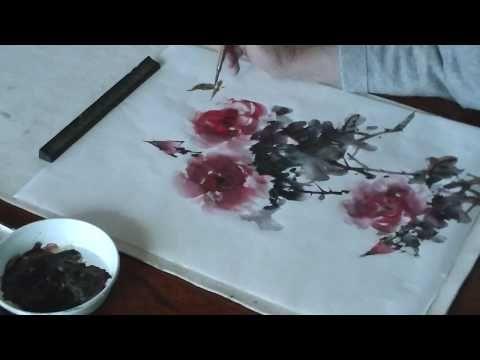 バラの描き方 水墨画家 白浪 How to draw roses - YouTube