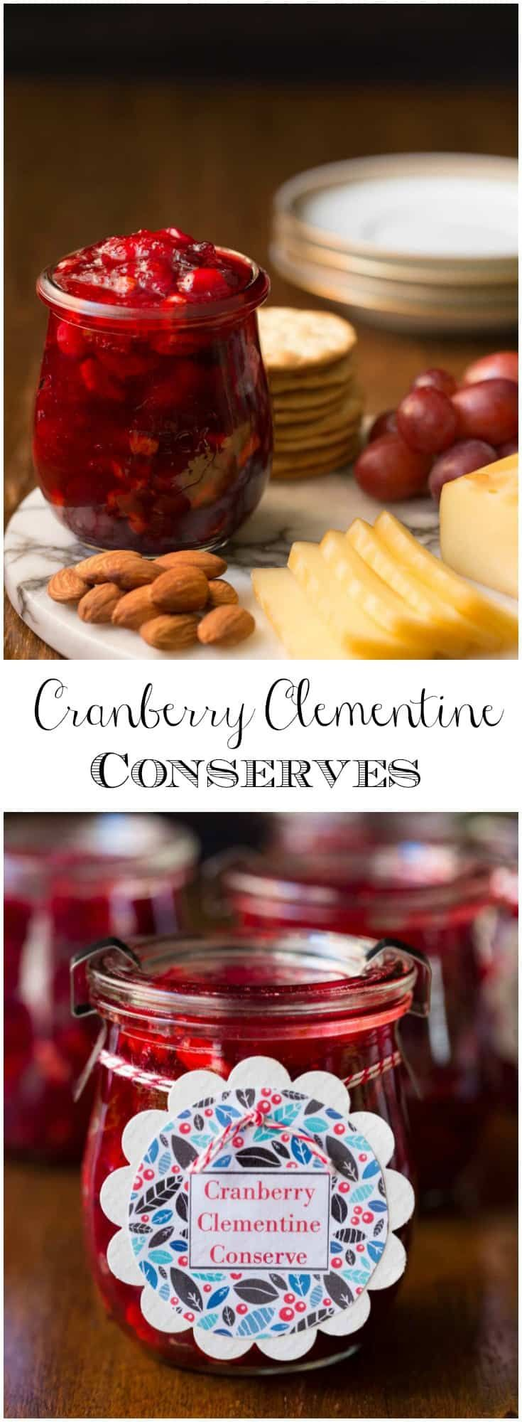 Keep a stash of these Cranberry Clementine Conserves handy for an easy and delicious appetizer. It's also fabulous for gift giving! #cranberry #clementine #conserve #giftsfromthekitchen #christmas
