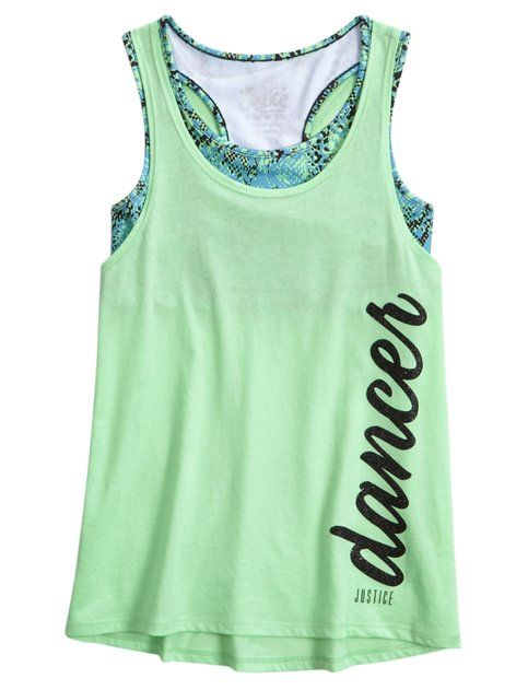 Shop Sports 2fer Tank and other trendy girls tops activewear at Justice. Find th…