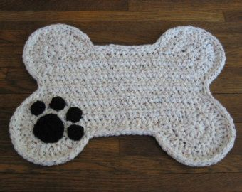 Dog Bone Placemat Rug Paw Print Food Floor Mat by DACcrochet