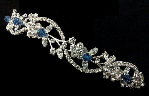 Something Blue Floral Crown, Sapphire Blue Tiara, Crystal Tiara, Vine Tiara, Leaves Crown, Bridal Halo, ADORNA BLUE