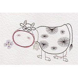 cow  animals and birds patterns at stitching cards
