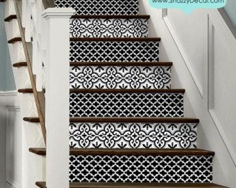 Stair Riser Vinyl Strips Removable Sticker Peel & by SnazzyDecal