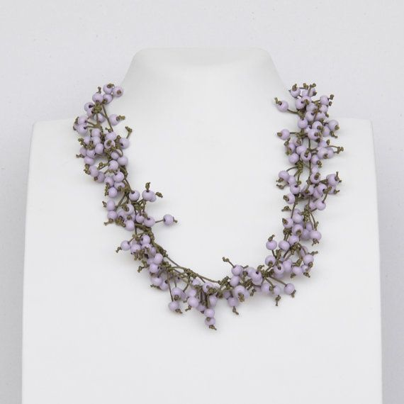 Easter flowers necklace statement necklace lilac by Cardoucci