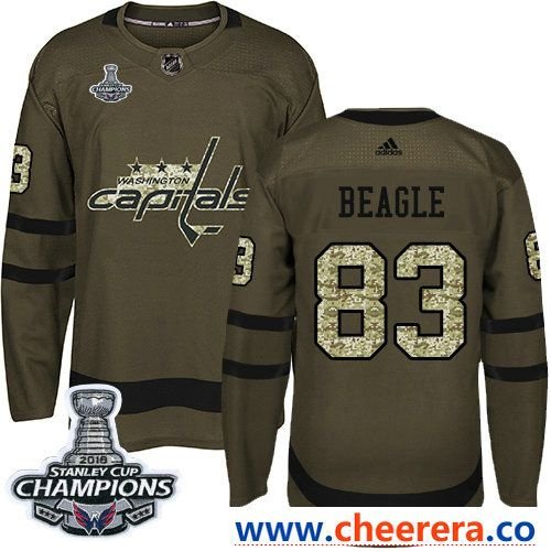 0a81acd3f Adidas Washington Capitals  83 Jay Beagle Green Salute to Service Stanley  Cup Final Champions Stitched NHL Jersey