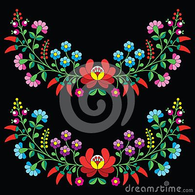 Hungarian floral folk pattern - Kalocsai embroidery with flowers and paprika