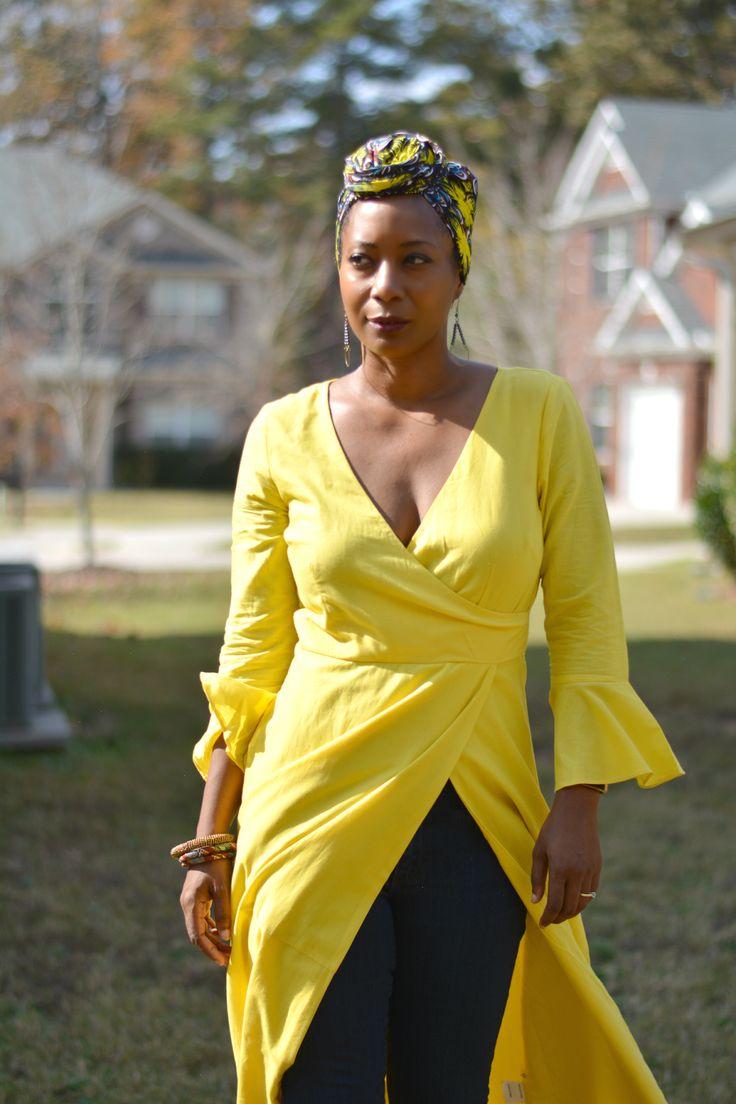 Surplus yellow maxi dress worn with african print head wrap. sponsored
