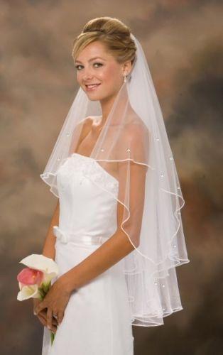 Elegant Swarovski Brautschleier 2T Fingerspitzen Schleier Weiß oder Elfenbein