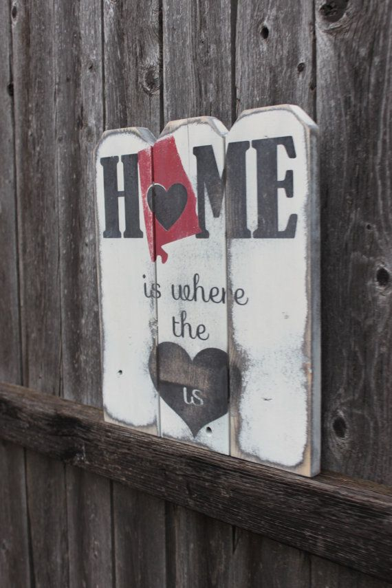 Alabama Sign Alabama State Home Sign Alabama State Sign Rustic Decor Housewarming Gift State Sign Home Is Where The Heart Is