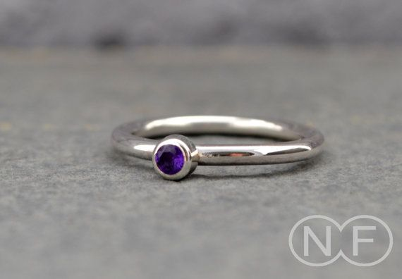 Amethyst Gemstone Stacking Ring by NFergusonJewellery on Etsy, £30.00