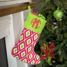 Ikat Christmas Stocking | Monogrammed Christmas Stockings | Personalized Christmas Stocking.