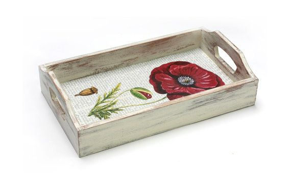 Red Poppy Flower Serving Tray  Serving Tray  11 by MyHouseOfDreams, $27.00