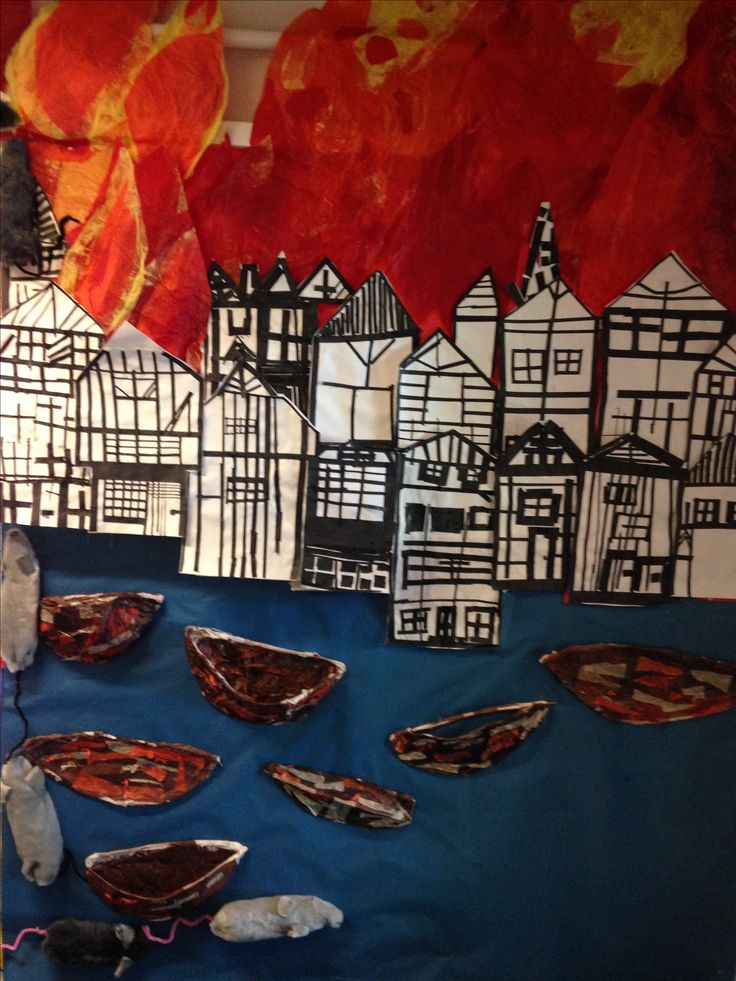 the fire spreads further.. willow and tissue paper boats and the rats are trying to get away too! Great fire of London Display created with year 2 at Selwyn Primary School