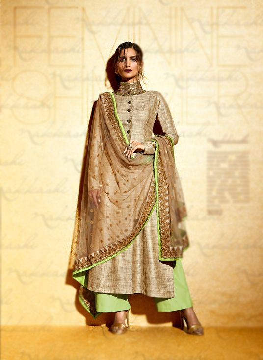 Beige Khadi Palazzo Style Suit 69495