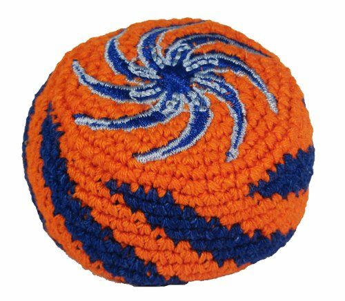 """Hacky Sack - Blue Swirl. Purchasing this hacky sack will help families in Guatemala raise their living standards. Hacky Sacks are about 2.5 inches wide. It is made by Fair Trade Producers. Often called """"foot bags"""" they are all cotton with small plastic beads inside. This hacky sack is already soft and easy to work with. Hacky Sacks are made in Guatemala and used for games. The colors of your hacky sacky will be the same as the colors in the picture, and the design will be the same."""