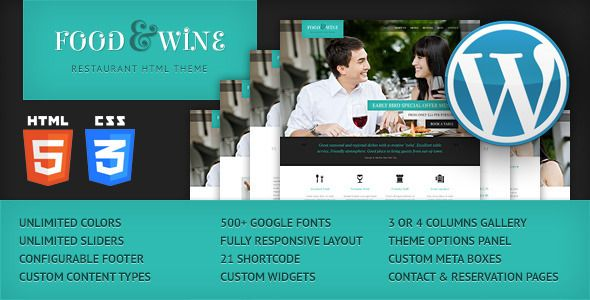 Food & Wine - Responsive WordPress Theme   http://themeforest.net/item/food-wine-responsive-wordpress-theme/4699217?ref=damiamio      Latest Version 1.3 – May 27, 2014        Excellent fully responsive theme for a restaurant, diner, cafe, hotel or bed and breakfast. Simple, modern and elegant design, clean code and very well organized files makes this theme extremely easy to edit.   Created: 15May13 LastUpdate: 27May14 Columns: 1 CompatibleBrowsers: IE8 #IE9 #IE10 #Firefox #Safari #Opera…