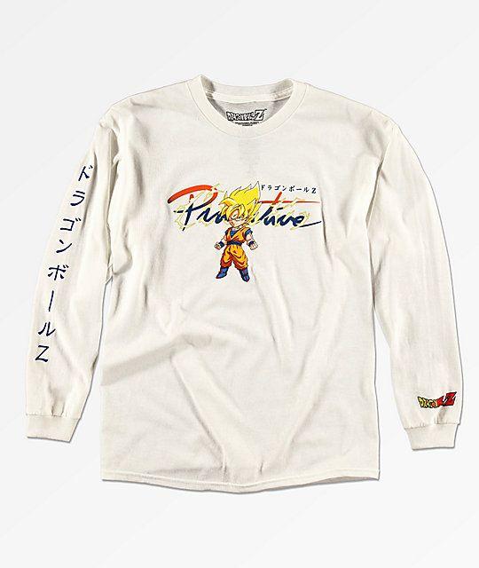 723e9f9f289 Primitive x Dragon Ball Z Boys Goku Saiyan White Long Sleeve T-Shirt ...