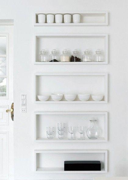 minimalist kitchen shelves