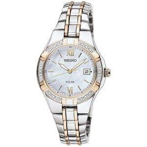 Seiko Womens Two-Tone Diamond-Accent Solar Watch