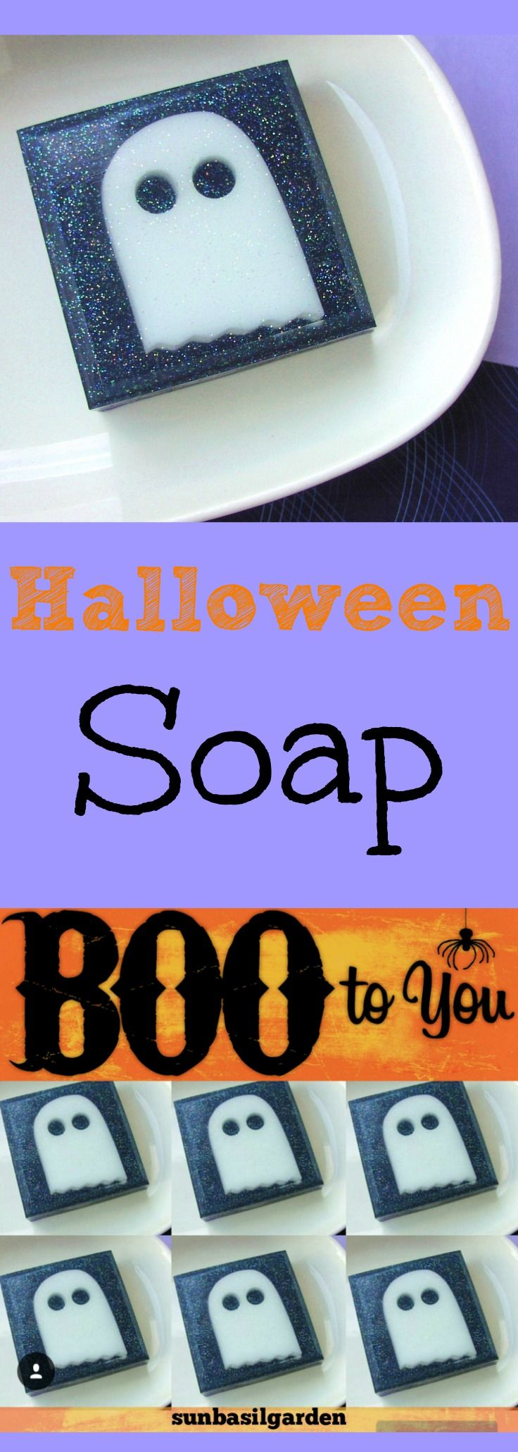 Mr. Boo the soap ghost comes flying into our shop only once a year. We have been making fun soapy fellow for 10 years and counting. Each ghost is cut by hand from soap and popped inside a juicy bar of glycerin. Isn't he so cute? We scent him in a fun bubble gum. He loves to used as Halloween party favors.