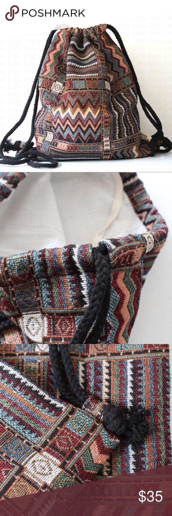 Boho Drawstring Backpack Tribal Woven String Bag! Boho Drawstring Backpack Gypsy Bohemian Chic Hippie Tribal Woven String Bag!  Handcrafted woven fabric handbag. Bags Shoulder Bags