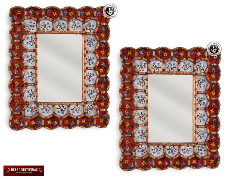 """Espejos decorativos 30*25cm en pan de Bronze, """"Flor Carmesi"""" Set de 2 Espejos - Adornos, Regalos y Decoracion Hogar - Artesania peruana by DECORCONTRERAS on Etsy"""