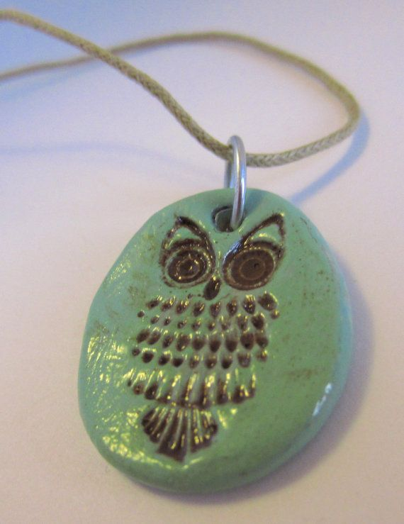 Stamped Clay Owl Pendant Necklace by MoonbeamsDesigns on Etsy, $20.00