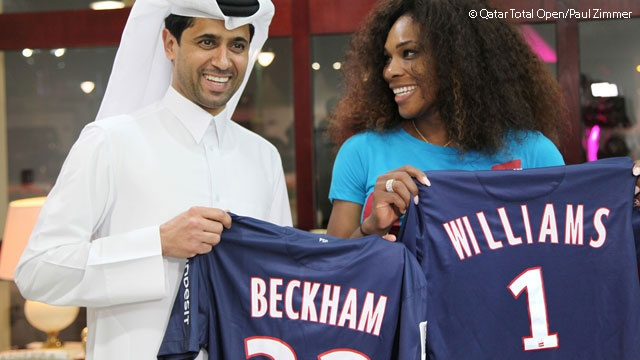 Paris Saint-Germain congratulates Serena Williams after her win v Petra Kvitova in the QFs of the Qatar Total Open 2013 held in Doha. .....Serena's 'Williams #1 ' jersey commemorated her return to WTA World #1  ranking - she will take the top spot for a 124th career week on Monday. #Renewal .....Al-Khelaifi is also director of Al-Jazeera Sports & President of soccer club Paris Saint-Germain. 2013 Qatar Total Open.