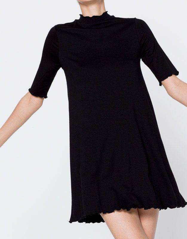 Vestido de manga curta liso - Vestidos - Vestuário - Mulher - PULL&BEAR Portugal