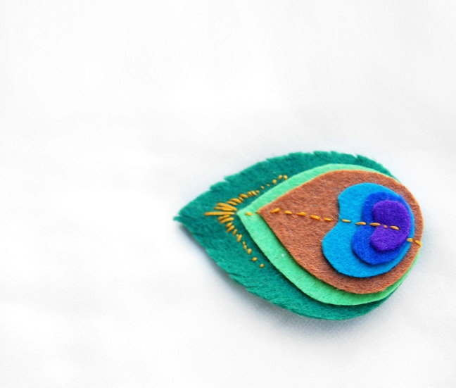 Faux peacock feather clip--cute