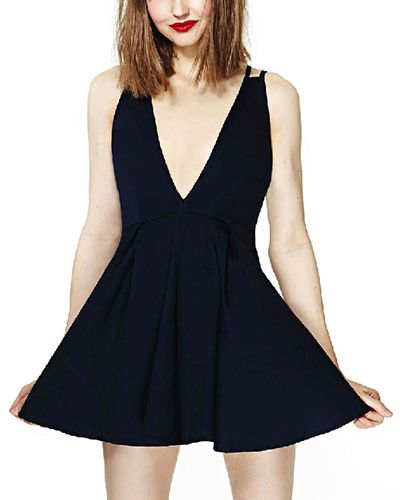 Black High Waist Cross Back Mini Dress DR0150450