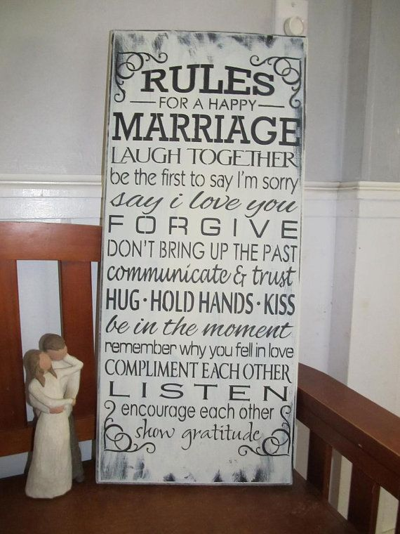 Rules+for+a+happy+marriagewedding+present+wooden+by+DandLSigns1,+$28.99