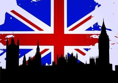 Silueta De Londres Y Bandera De Inglaterra Lámina 45 X 30 Cm ...