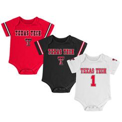 Newborn & Infant Colosseum Black/Red/White Texas Tech Red Raiders Game Day 3-Pack Bodysuit Set