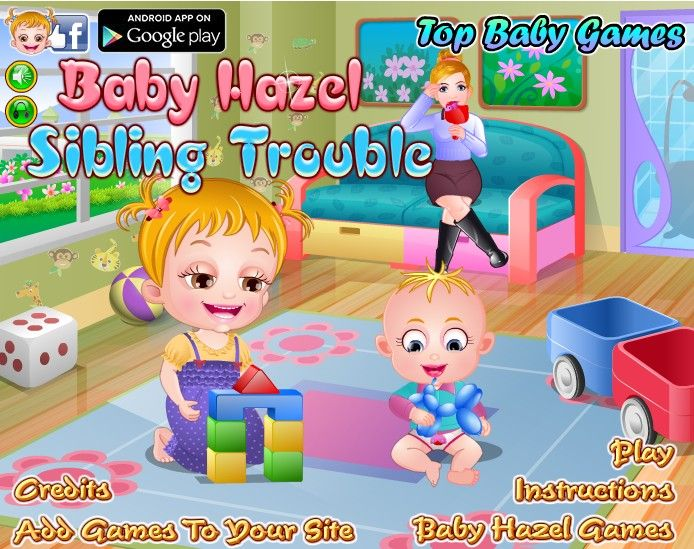 Baby Hazel is flying high as she gets a chance  to trouble her nanny. She makes sure nanny does not rest for a minute even. Have fun enjoying tricks played by Hazel. http://www.topbabygames.com/baby-hazel-sibling-trouble.html