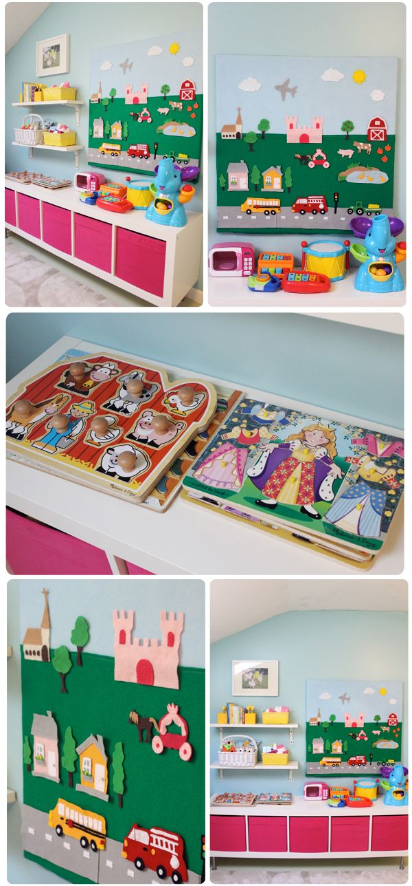 I am so excited to share our girls' playroom!!It's full of past DIY projects and budget friendly storage solutions.With Baby #3 arriving soon..I was really wanting tohave this play spac…